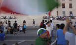 World Soccer Championship 2006 Students celebrate Italy´s semi-final win